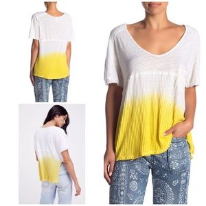 Free People Yellow White Sun Dial Color Dip Top XS